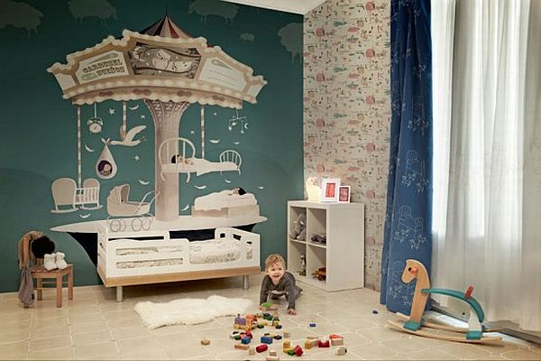 çocuk odalarında duvar kağıdı